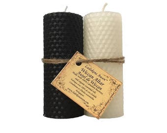 "Wiccan Altar Candle Set - Two 4 1/4"" Beeswax Pillar Candles, one White one Black"