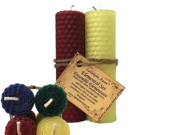 "Elemental Candle Set - Four 4 1/4"" Beeswax Candles, one Yellow, one Red, one Blue, one Green"