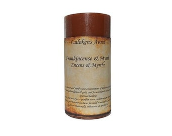 """Lailokens Awen Frankincense & Myrrh 2"""" x 4"""" Scented Spell Candle"""