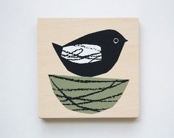 bird (green) - printed mini plywood
