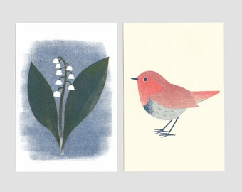 Risoprint Postcards -'Japanese robin' and 'Lily of the valley'