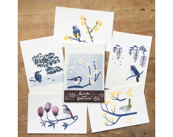 Risograph Postcards - 'Birds and Flowers (A)'  - 6 sheets