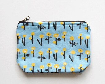 zipper pouch  'yellow flowers' (small)