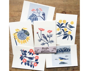 Risograph Postcards - 'Birds and Flowers (B)'  - 6 sheets