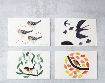 Four migratory birds postcards