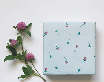 wrapping paper - 'Red clover' or 'Lily of the valley'  - 6 sheets