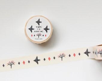 bird and vermilion fruit -  Washi Tape