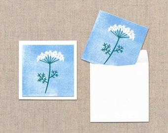 mini card + Envelope (3 sheets set) - 'white flower'  'small fruits'