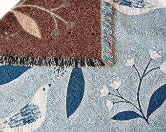 Bird and Flower Woven Throw mini Blanket