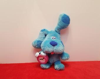 Vintage blue from blues clues plush barking dog, talking clock, blue dog, Tyco 1998