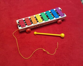 Vintage fisher price xylophone, wood xylophone 1978, musical toy, pull along toy