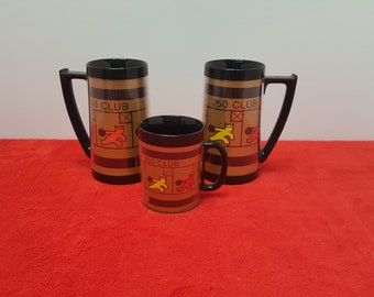 vintage thermo serv, set of 3 insulated bowling mugs, 250 club