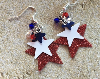 4th of July Jewelry, Patriotic Earrings, 4th of July Earrings, Red and Blue Earrings, Jewelry, Womens Jewelry