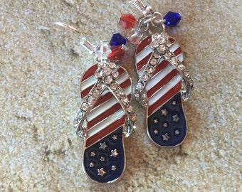 Patriotic Earrings, 4th of July Earrings, Red, White and Blue Flip Flop Earrings, Jewelry, Summer Jewelry, Beach Earrings, Womens Jewelry