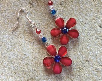 Patriotic Earrings, 4th of July Earrings, Red, White and Blue Flower Earrings, Jewelry, Summer Jewelry, Womens Jewelry