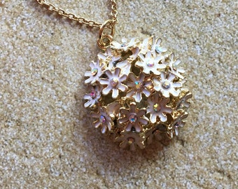 Flower Pendant, Rhinestone Flower Pendant, Necklace, Pendant, For Her, Womens Jewelry, Jewelry
