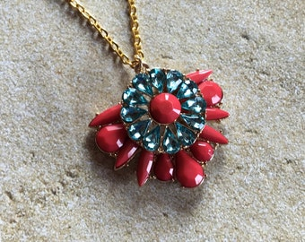 Red and Blue Statement Necklace, Southwestern Necklace, Southwest Pendant, Rhinestone Necklace, Beaded  Necklace, Gift For Her