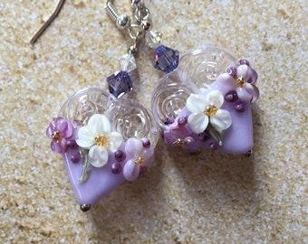 SRA Heart Lampwork Earrings, Lavender & White Polka Dot Earrings with Flowers, Lampwork Jewelry, SRA Lampwork Jewelry, SRA Lampwork Earrings