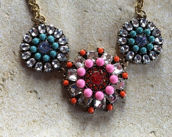 Pink and Blue Statement Necklace, Southwestern Necklace, Southwest Pendant, Rhinestone Necklace, Beaded  Necklace, Gift For Her