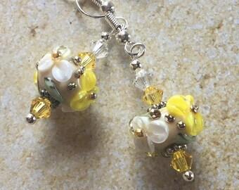 SRA  Lampwork Earrings Lampwork Jewelry Blue and Yellow FlowerFloral Lampwork Earrings SRA Lampwork Jewelry Earrings