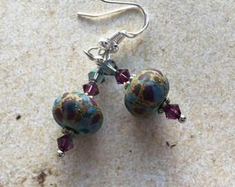 Earrings SRA  Lampwork Earrings SRA Lampwork Jewelry Blue and Purple FlowerFloral Lampwork Earrings Lampwork Jewelry