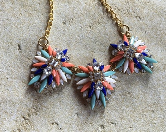 Turquoise, Orange and Blue Statement Necklace, Southwestern Necklace, Southwest Pendant, Rhinestone Necklace, Beaded  Necklace, Gift For Her