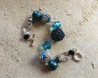 Blue Beaded Bracelet, Glass Bracelet, Blue Bracelet, Gift For Her, Beaded Jewelry