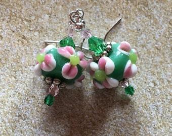 Green Lampwork Earrings with Flower, Dangle Earrings,  Flower Earrings, Lampwork Floral Earrings, Glass Earrings, Statement Earrings