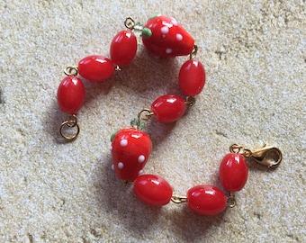Strawberry Bracelet, Bracelet for Girls, Bracelet for Kids, Jewelry for Girls, Jewelry for Kids, Gift for Girls
