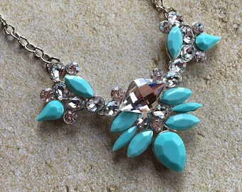 Turquoise and Crystal Necklace, Southwest Necklace, Southwestern Necklace, Southwest Jewelry, Statement Necklace