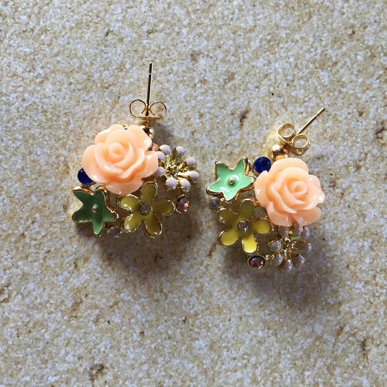 Blue Earrings Jewelry Pink Flower Earrings with Rhinestones Flower Earrings Earrings For Her Gift Ideas