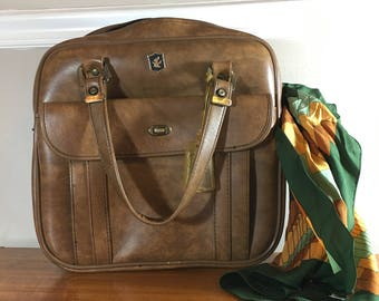Vintage Overnight Bag Brown Made in Taiwan