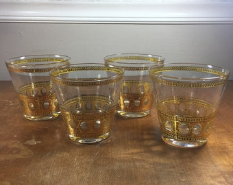 ed962279194a Vintage Set of Four Culver Antigua Highball 22k Gold Adorned Glasses  Hollywood Regency