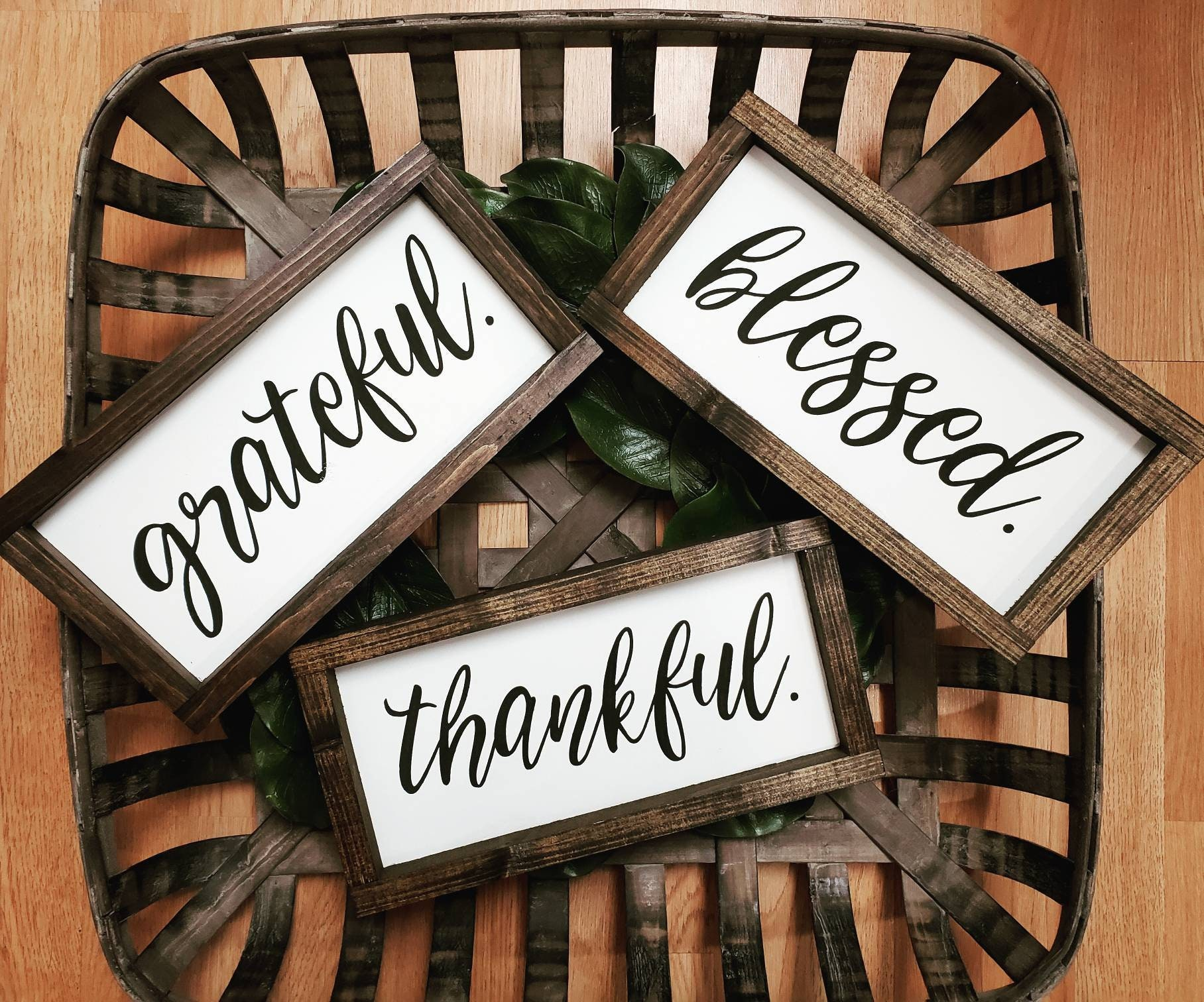 grateful, thankful, blessed framed wooden signs, set of 3 signs, thankful  grateful blessed, modern calligraphy, hand painted wood signs, art