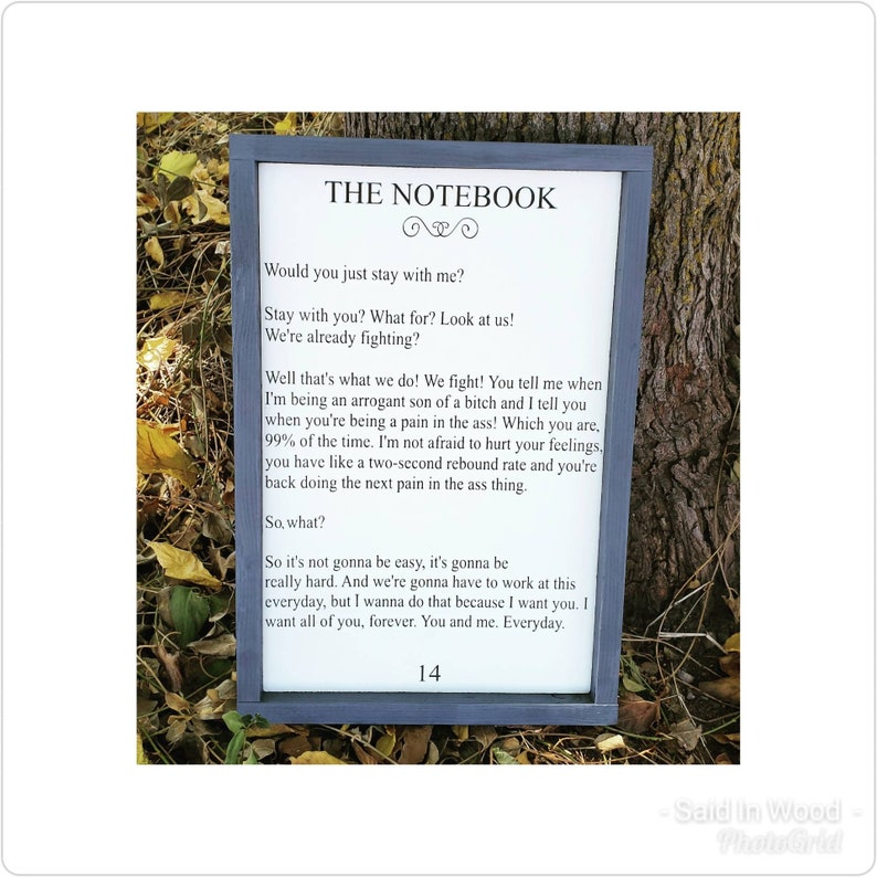 The Notebook Movie Book Page Sign The Notebook Quotes Sign Etsy