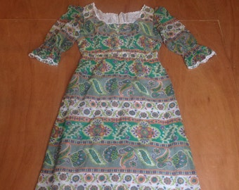 Hippy Maxi dress, folk,boho, Arts & Crafts style size 10 (uk) 1960s