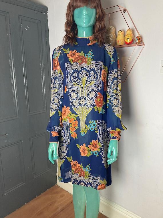 60s Rizkalla for Malcolm Starr Silk Chiffon Dress