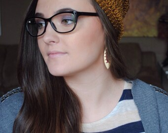 Bronze Slouchy Beanie, Slouchy Hat, Slouch Beanie, Slouch Hat, Slouchy Beanie Hat, Boho Beanie, Boho Hat, Bohemian Beanie, Bohemian Hat