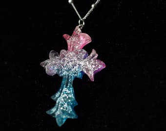 Cute Pink, Purple and Blue Gradient Cross Necklace with Glitter - Nickel free