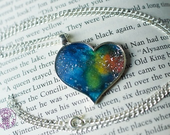 Rainbow Galaxy Heart Necklace with Glitter - Nickel free