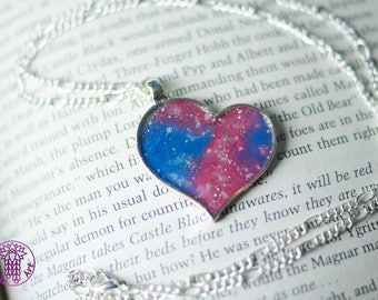 Pink Galaxy Heart Necklace with Glitter - Nickel free