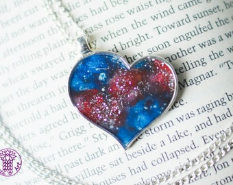 Red Galaxy Heart Necklace with Glitter - Nickel free