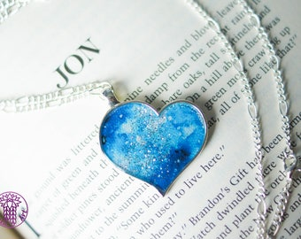 Light Blue Galaxy Heart Necklace with Glitter - Nickel free