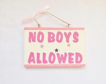 No Boys Allowed Girls Bedroom Door Sign Wall Plaque Home Decor Gift Idea For Kids