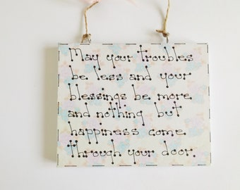 Home Blessing Quote Sign Wall Plaque Home Decor New Home Housewarming Gift