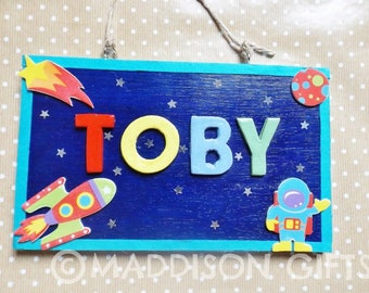 Outer Space Theme Bedroom Door Plaque Personalised Spaceman Name Sign Kids Gift Idea
