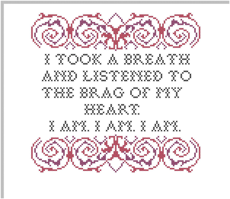 Brag of My Heart Sylvia Plath Cross Stitch Pattern