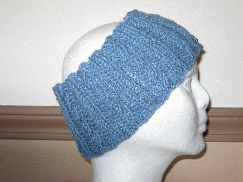 6aa914f1280087 Dusty Blue Adult Ear Warmer in Ribbed/Twisted Rib Pattern   Etsy