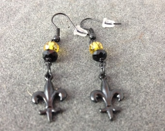 Black Fleur de Lis Earrings with Black and Gold Crystal Beads