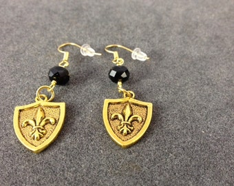 "Gold Fleur de Lis 'Shield"" Earrigs with Black Faceted Crystal Beads"
